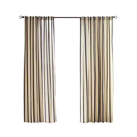 Outdoor Cabana Curtains Shop Solaris 108 In L Black Cabana Stripe Outdoor Window Curtain Panel At Lowes