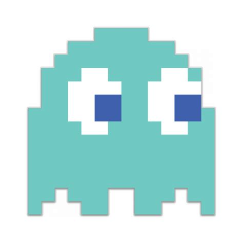 inky blue pac man ghost light blue inky shaped sticker unixstickers