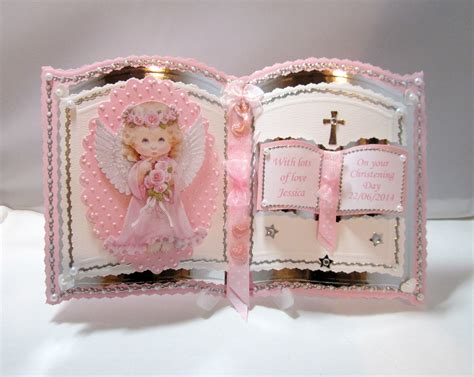 Handmade Baby Card Ideas - bookatrix pink christening holy communion card