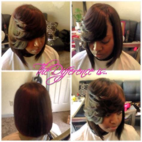 weavr for razor cut with bangs full invisible side part sew in bob layer side bang