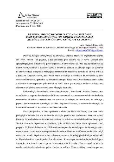 """(PDF) Resenha do livro """"Educação como prática da liberdade"""