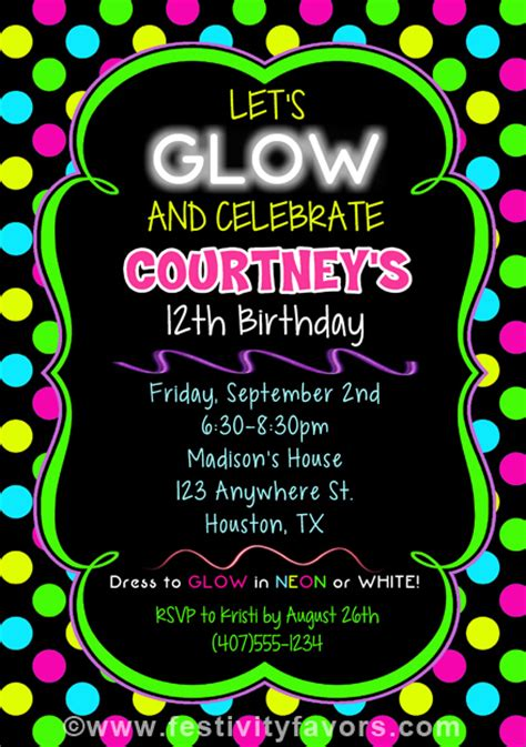 Bridal Shower Guest Book Neon Glow Birthday Party Invitations Kids Birthday