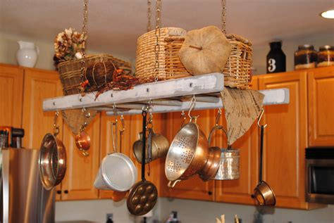 Wooden Pot And Pan Rack Decorating With Wood Ladders Ladder Pot Rack