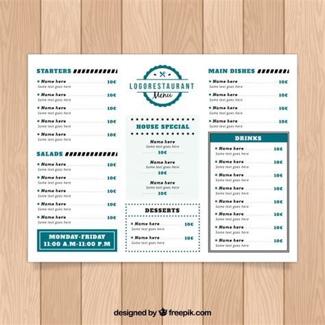 menu sections restaurant menu with many sections vector free download