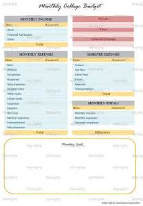 monthly college budget planner financial organizer by