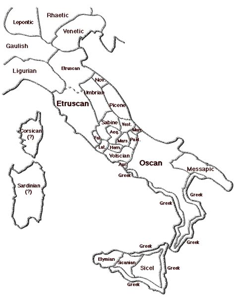Blank Map Of Ancient Italy by Language Map Of Ancient Italy