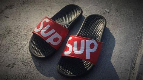 custom sandals how to make custom supreme nike sandals
