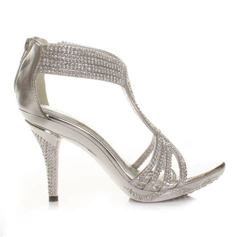 silver prom high heels silver womens diamante wedding high heel prom shoes