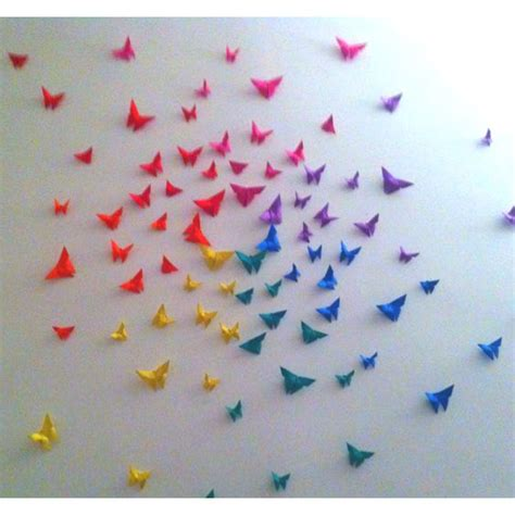 How To Make Paper Butterflies For Wall - rainbow origami butterfly wall decor diy i would do this