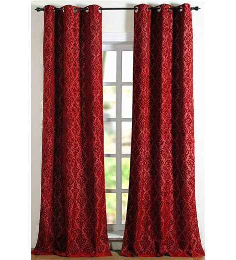 long red curtains deco essential red damask pattern long door curtain by