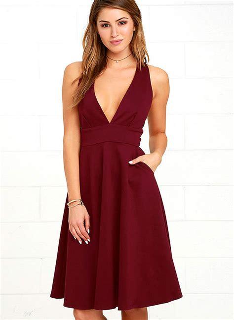 v neck sleeveless dress a line v neck pockets sleeveless dress oasap