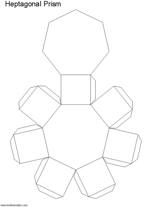 How To Make A Hexagonal Prism Out Of Paper - heptagonal pyramid net