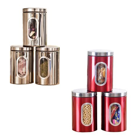 Window Canister Package 3pcs stainless steel window canister tea coffee sugar nuts