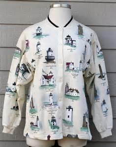 vintage artisans new england lighthouse cardigan sweater