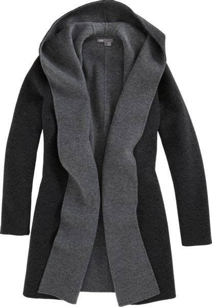 vince drape hooded coat vince draped hooded coat in gray charcoal lyst