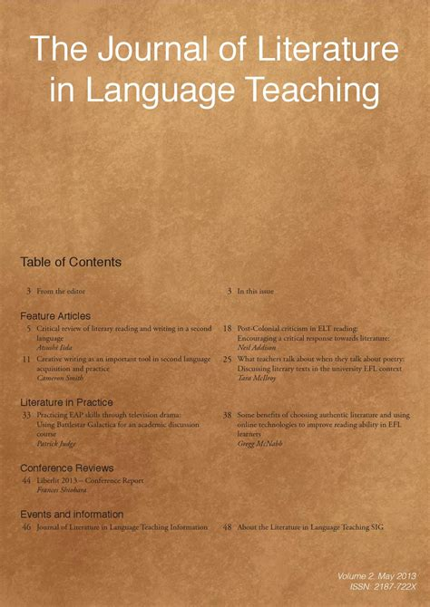 the journal of literature in language teaching volume 2