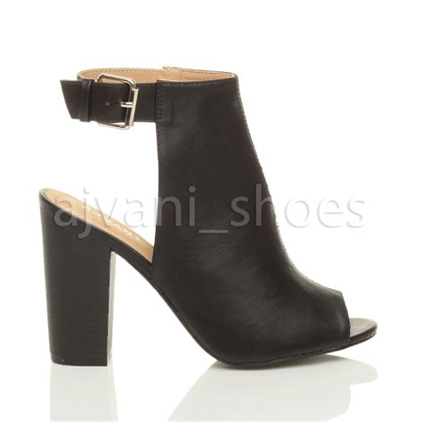 high heel peep toe booties womens block high heel peep toe ankle buckle