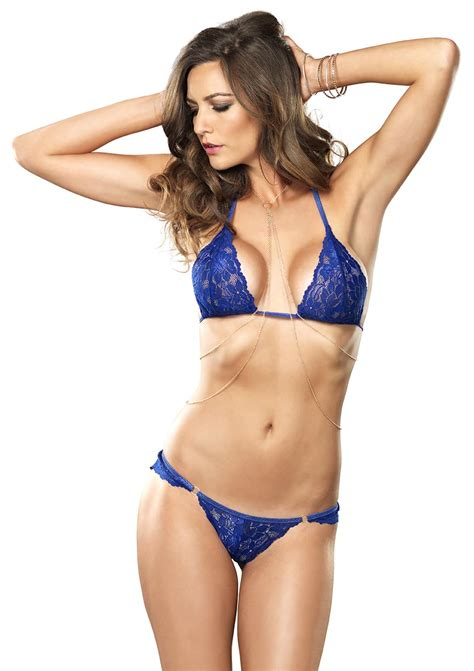 Adinda Set Blue Lusianans 3pc celestial set lace bra and chain med lge
