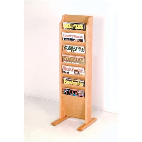 wooden mallet free standing 7 pocket magazine rack in