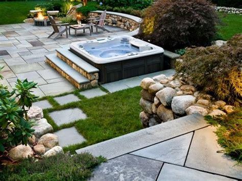 patio spa tub patio ideas idea landscaping back yard with