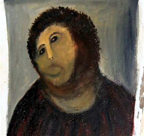Jesus Painting Restoration Meme - bilingual section santos isasa the ecce homo