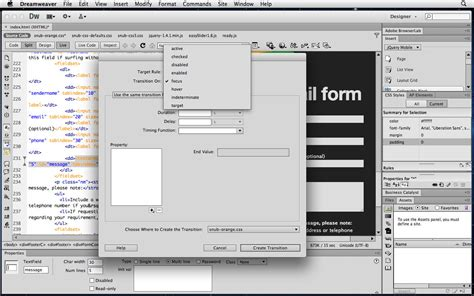 tutorial css3 dreamweaver tutorial use css3 transitions for form