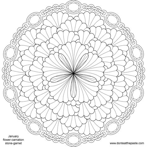mandala flower coloring pages difficult don t eat the paste january birthstone and flower mandala