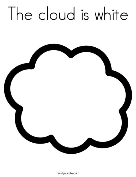 White Coloring Pages the cloud is white coloring page twisty noodle