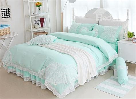 mint green bedding set princess style lace edging mint green cotton 4 piece