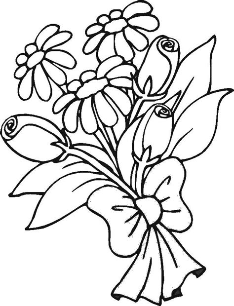 Bouquet Of Flowers Coloring Pages For Childrens Printable Bouquet Roses Coloring Pages