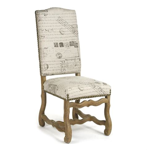 marcelle french country linen script camel  dining chair