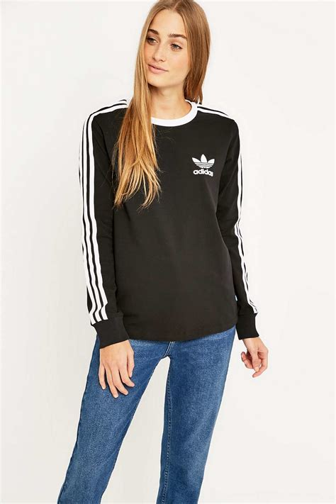Stripe Sleeved T Shirt adidas three stripe sleeve black t shirt in black lyst