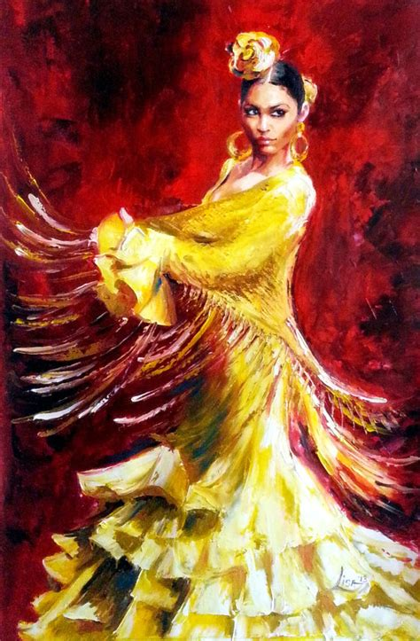 Acrylic Painting Textures - original oil painting flamenco dancer yellow by artonlinegallery