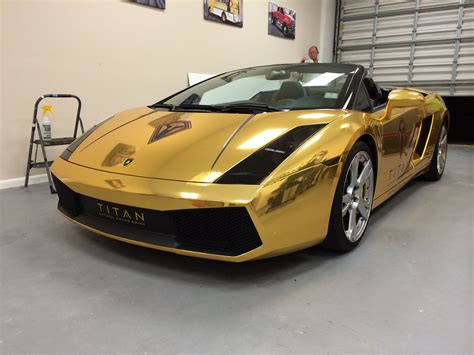 Lamborghini Gallardo Gold Chrome Vinyl Wrap Davie Car Wrap