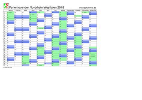 Jahreskalender 2018 Nrw Schulkreis De Schulferien Kalender Nrw Nordrhein Westfalen