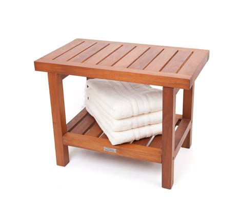 20 quot ergonomic teak spa stool with shelf and lift aide arms