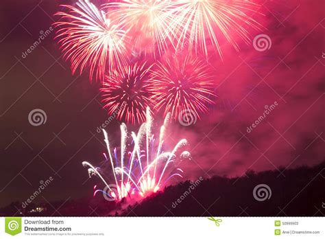 amazing bright red firework celebration of the new year