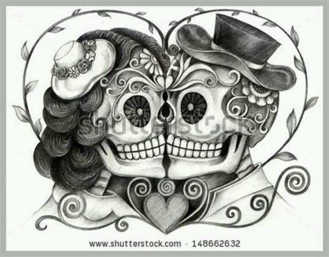 sugar skull couple tattoo vintage day of the dead skulls day of the dead