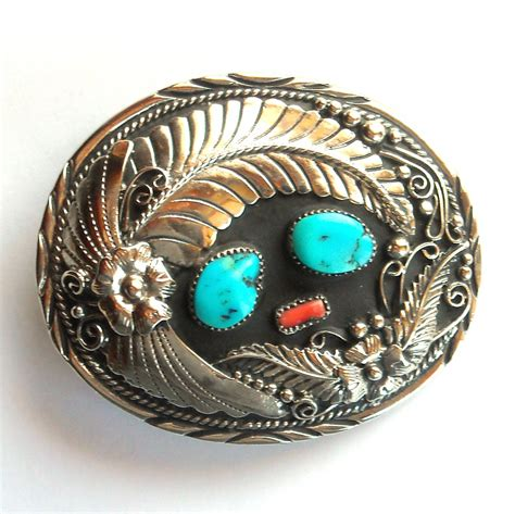 Handcrafted Belt Buckles - western genuine turquoise handcrafted silver color ssi