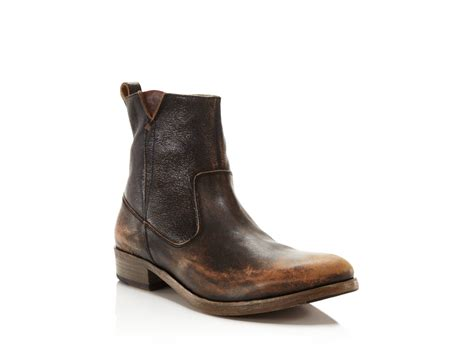 varvatos boots varvatos followill zip boots in brown for lyst