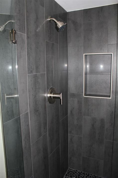 12x24 tiles in bathroom niche w out bullnose gray 12 x 24 shower tile with danze