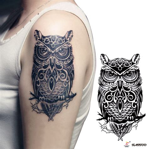 large temporary tattoos temporary tattoos large black owl arm transfer