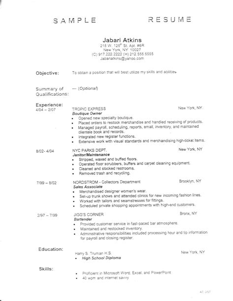 employment fitness zone resume outline and sle