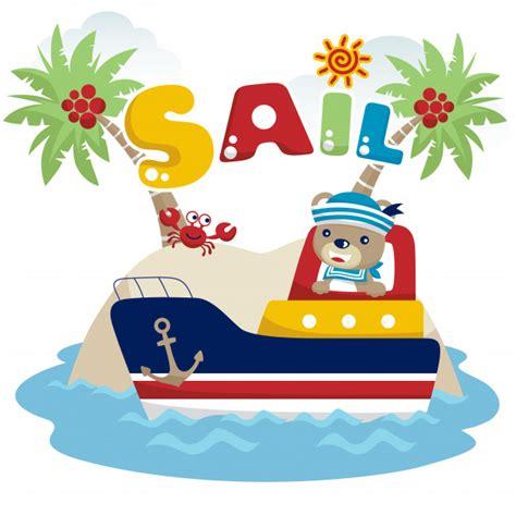 barco marinero dibujo vector de dibujos animados de marinero divertido con barco