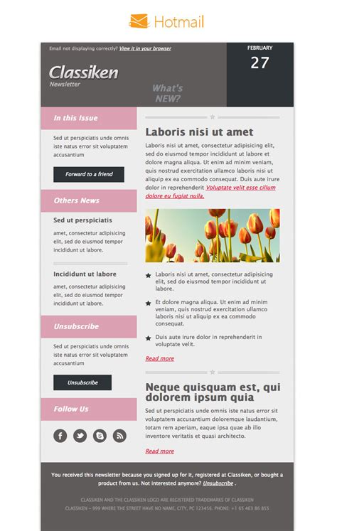 hotmail email template classiken html newsletter template e mail templates