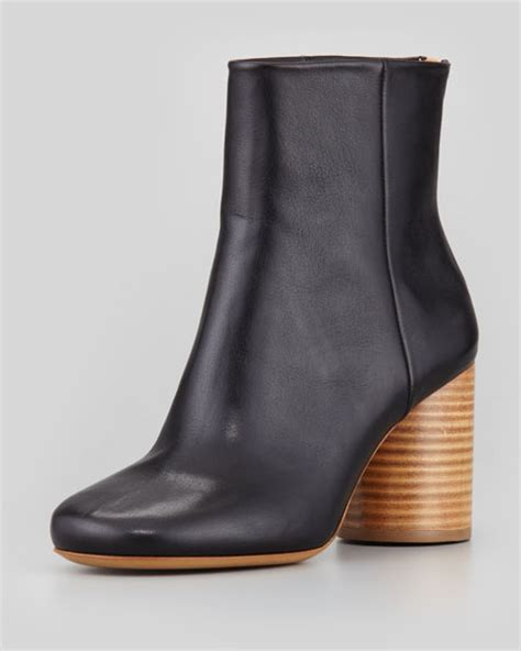 maison martin margiela leather wooden heel ankle boot