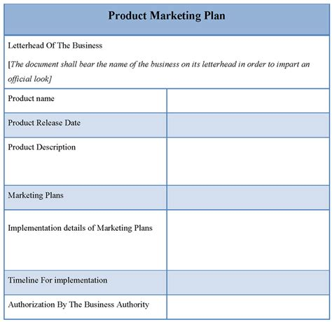market plan template product template for marketing plan template of product