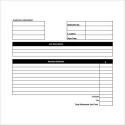 Estimate Template Pdf by Blank Estimate Template 23 Free Word Pdf Excel