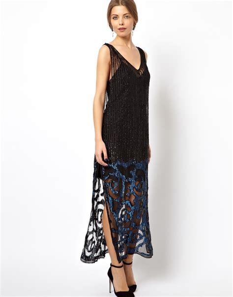 lyst asos black premium flower embellished maxi dress in