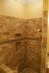 modern walk in shower with bench